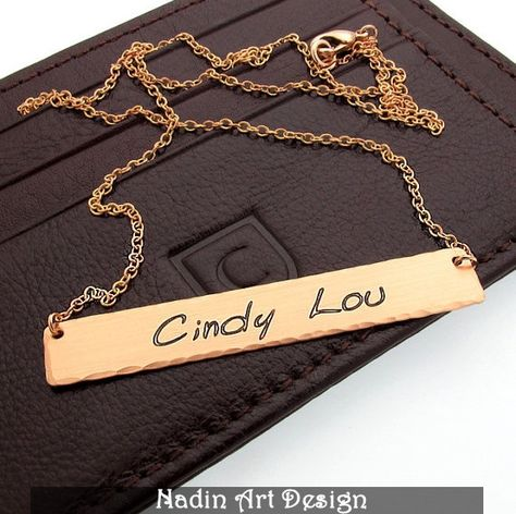 Kupfer Halskette / Gravierte Bettelkette für Damen von NadinArtDesign auf DaWanda.com