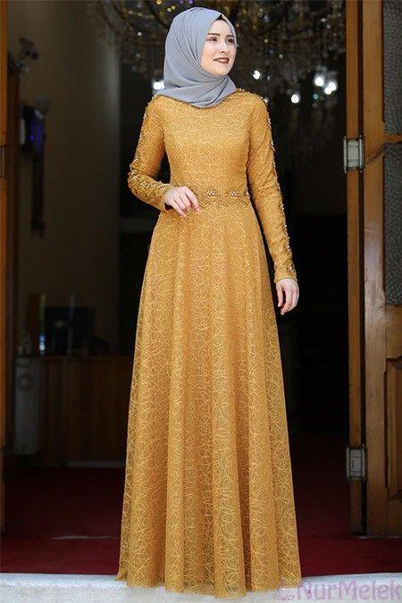 Dantelli Hardal Tesettur Soz Elbisesi Basortusu Modasi Giyim Elbise Modelleri