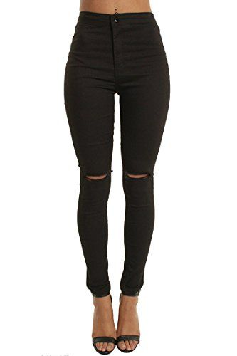 westAce Knee Hole Skinny Jeans Slim Stretchy High Rise