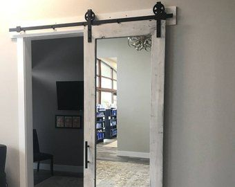 Distressed White Rustic Mirrored Sliding Barn Door 36 X 84 In 2020 Sliding Bathroom Doors Bathroom Barn Door Mirror Closet Doors