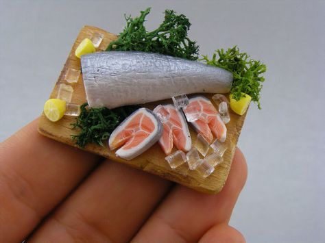 New Dolls House Food 12th Scale Handmade Fish Set of 4 Fish Fillets