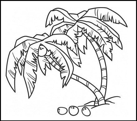 Coconut Tree Coloring Page In 2020 Coconut Tree Drawing Tree