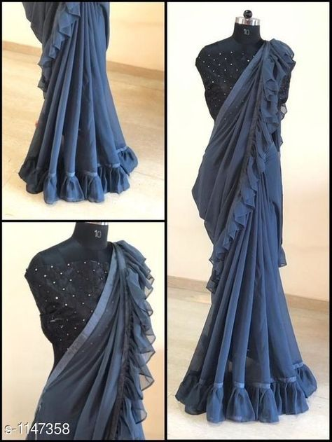 Buy Sarees Stylist Georgette Women's Sarees for - COD and Easy return available