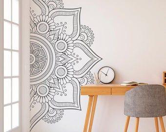 Mandala Wall Art Sticker Half Mandala Wall Decal Large Vinyl Etsy In 2020 Wall Art Living Room Yoga Wall Art Mandala Wall Art