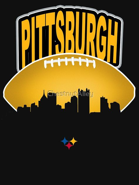 For Steeler Nation: Pittsburgh city skyline in front of football. Pittsburgh Penguins Memes, Pittsburgh Skyline, Pittsburgh Steelers Football, Pittsburgh Sports, Football Baby, Penguins Players, Penguin Drawing, Dallas Cowboys Shirts, Go Steelers