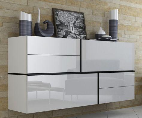Hoogglans Eetkamer Set.Nasmaak Gayo Zwevend Design Dressoir Hoogglans Wit Dressoir