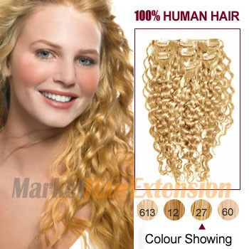 30 Strawberry Blonde 27 7pcs Curly Clip In Indian Remy Hair