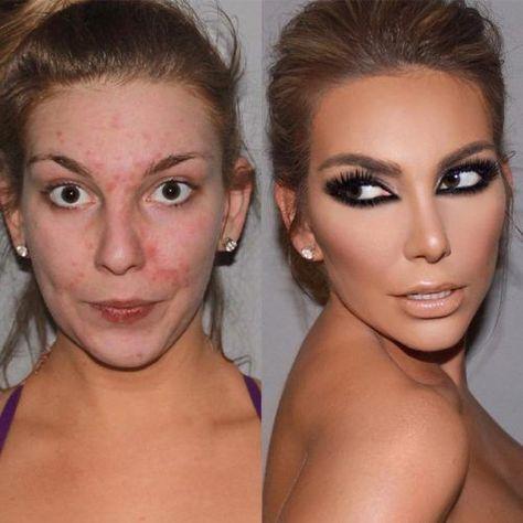 Make-up, um das Gesicht vor und nach Prominenten schlank zu machen