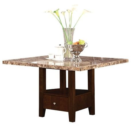 ACME Granada Brown Marble Top Dining Table with Storage Base, Espresso Finish by ACME. Save 9 Off!. $522.50. Decorative hardware. Brown Marble top. Storage Base. The Granada transitional dining collection reflects marble stone top, espresso tapered legs and button tufted PU leather seat backs. Also features decorative server with wine storage.