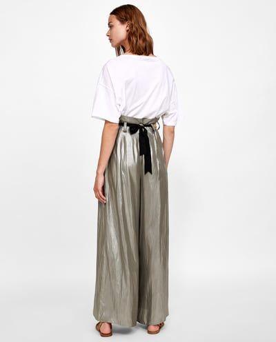 carencia Leeds De acuerdo con  Imagen 6 de PANTALÓN PALAZZO EFECTO METALIZADO de Zara | Fashion, Style,  Normcore