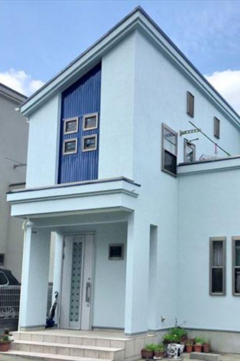 外壁 リフォーム 外観 塗装 青色 施工 青 色 窓サッシ