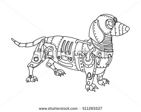 Steampunk Style Dachshund Dog Mechanical Animal Coloring Book