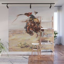 Vintage Western Cowboy Bronc Rider C M Russell Wall Mural Wall Murals Mural Western Home Decor