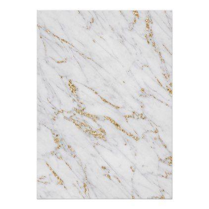 Chic Gold Glitter White Marble Elegant Pattern Poster Zazzle Com White Marble Marble Pattern Gold Marble