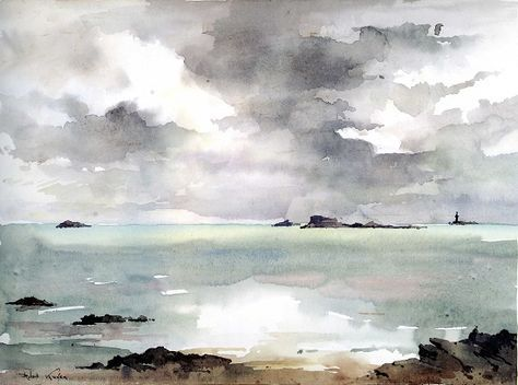 Robert Kuven Watercolor Seascape Paintings Watercolor Art
