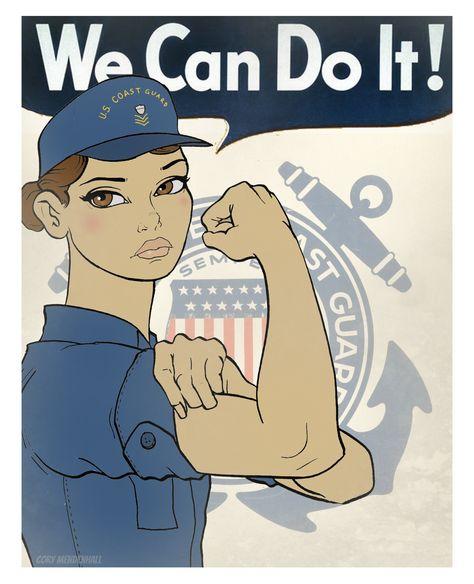 U.S. Coast Guard cartoon by Petty Officer 3rd Class Cory Mendenhall. Women's history month.