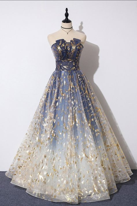 Buy Charming Blue Floral Print Tulle Strapless Long A Line Prom Dresses, Dance Dresses online.Shop short long ombre prom, homecoming, bridesmaid evening dresses at Couture Candy Cocktail party dresses, formal ball gowns in ombre colors. Pretty Prom Dresses, A Line Prom Dresses, Tulle Prom Dress, Dance Dresses, Ball Dresses, Elegant Dresses, Beautiful Dresses, Formal Dresses, Sexy Dresses