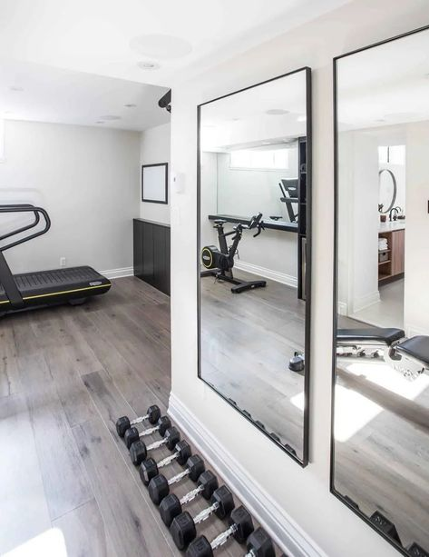 Home Gym Basement, Home Gym Garage, Diy Home Gym, Home Gym Decor, Gym Room At Home, Workout Room Home, Workout Rooms, Basement Remodeling, Basement Workout Room