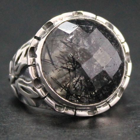 Sterling Silver Unique Handmade Men's Ring with Rutilated Quartz