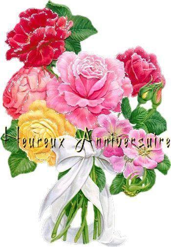 Heureux Anniversaire Avec Bouquet De Fleurs Bon Anniversaire Fleurs Bouquet De Fleurs Anniversaire Carte Anniversaire Fleurs