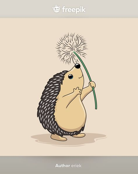 Hedgehog Play Dandelion Flower Flying Cartoon Porcupine
