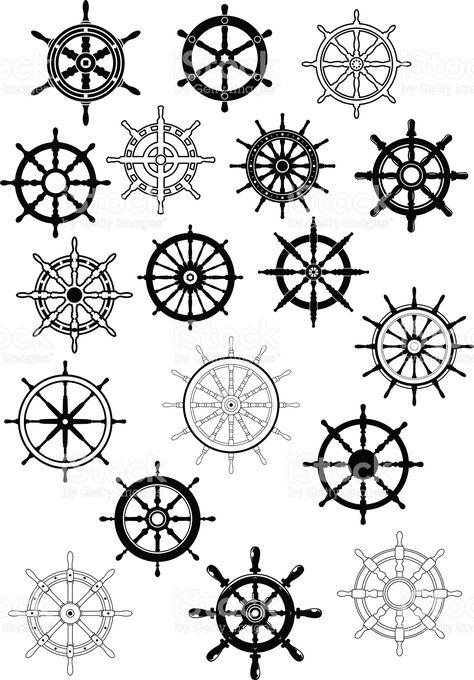 Ship steering wheels in retro style royalty-free stock vector art