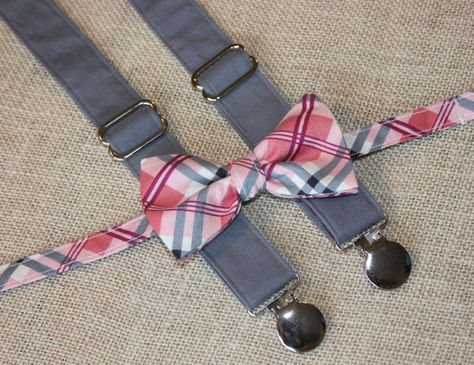 66db5b638abe Pink and Gray Plaid Bow Tie and Dark Gray Suspenders set ( Men, boys, baby,  toddler, infant Suspender and Bowtie ) on Etsy, $38.00