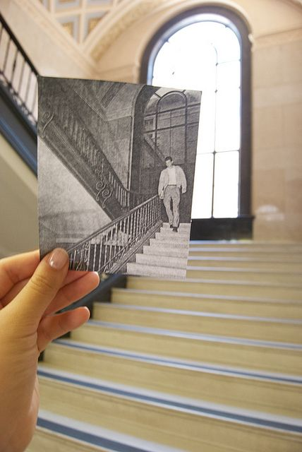 """Past meets present in this photo from The Alcalde's """"Dear Photograph"""" project, taken by Zen Ren."""