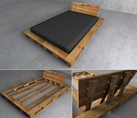 paletten bet mit kopfteil selber bauen als idee fr moderne schlafzimmereinrichtung camas pinterest - Diy Kingsizekopfteil Plne