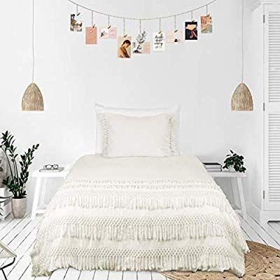 Kb Me Minimalist Boho Chic Solid Ivory Cream Macrame Fringe Knotted Tassel Cotton Duvet Comforter Cover An Comforter Cover Luxury Duvet Sets Duvet Comforters