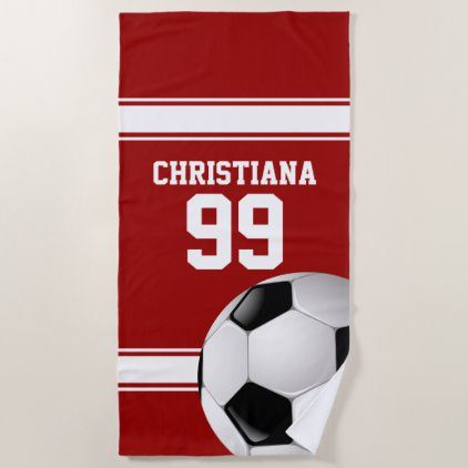 Red And White Stripes Jersey Soccer Ball Beach Towel Zazzle Com Soccer Ball Custom Beach Towels Striped Jersey