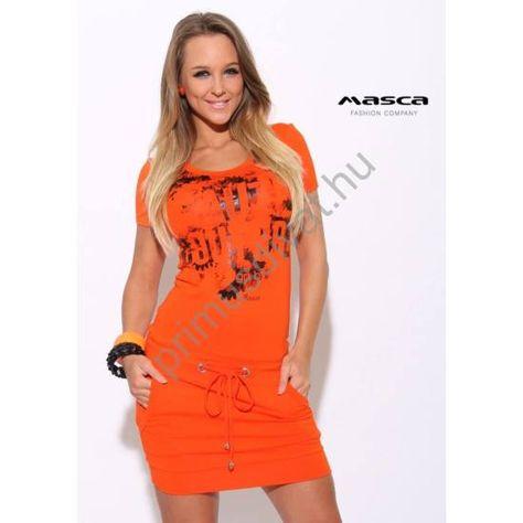 1b305de8b95b Masca Fashion rövid ujjú narancssárga zsebes miniruha, csípőjén  ékszerkarikás bújtatójú megkötővel, elején nyomott mintával