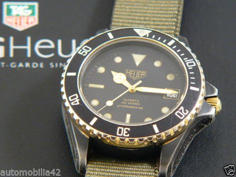 Heuer 1000 Submariner Man Black Coral on a military green nato band 984.013