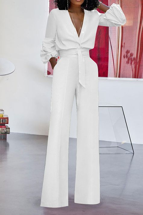 Ericdress Fashion Lace-Up Plain Straight Loose Jumpsuit Fashion girls, party dresses long dress for short Women, casual summer outfit ideas, party dresses Fashion Trends, Latest Fashion # Looks Chic, Looks Style, Classy Outfits, Stylish Outfits, Girly Outfits, Fall Outfits, Summer Outfits, Jumpsuit Elegante, Outfit Chic