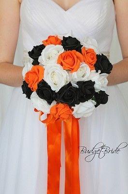 Orange Black And White Theme Wedding Flower Brides Bouquet