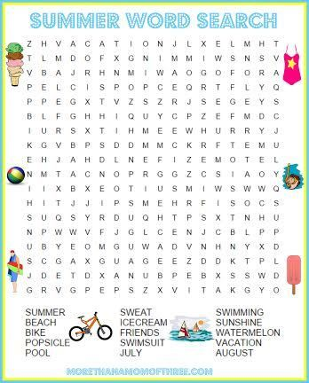 photograph regarding Summer Word Search Printable called 5 Cost-free Summer time Match Printable Worksheets Video game Evening