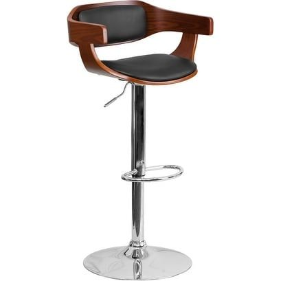 Admirable Ihome Estella Low Back Walnut Bentwood Adjustable Bar Pabps2019 Chair Design Images Pabps2019Com