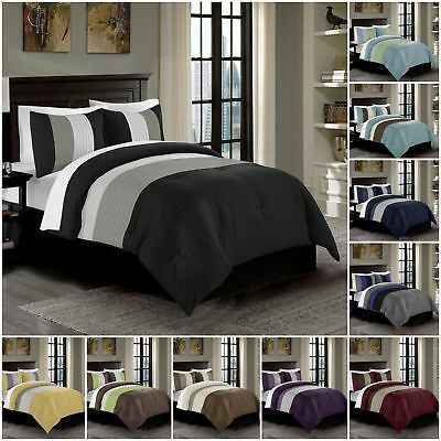 Chezmoi Collection Harper 3 Piece Luxury Striped Pleated Bedding Comforter Set Bed Comforters Comforter Sets Comforters