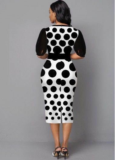 Black Polka Dot Print Half Sleeve Dress | modlily.com - USD $33.83