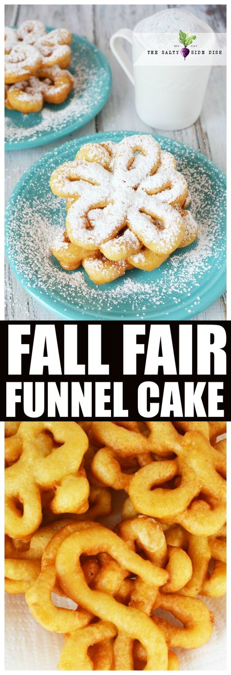 Easy funnel cake recipe, a made from scratch fall favorite, brings you right back to the fair. Whip up your own delicious at home funnel cake (fried dough dusted in powdered sugar) in under 10 minutes. #funnelcake #fall #fried #dessert #carnival #recipe #foodie #homemade