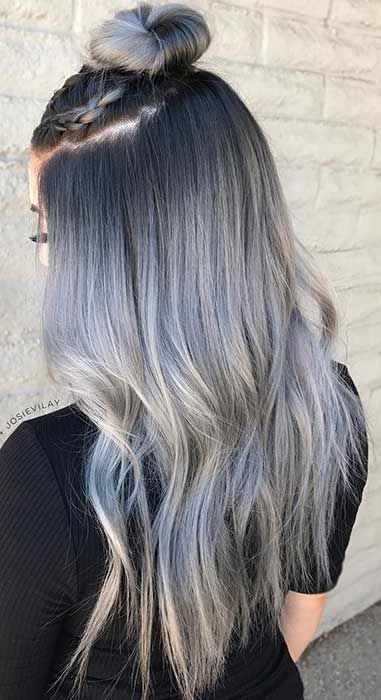 30 Gorgeous Silver Hairstyles For Women Silver Hair Color Silver Ombre Hair Ombre Hair Blonde