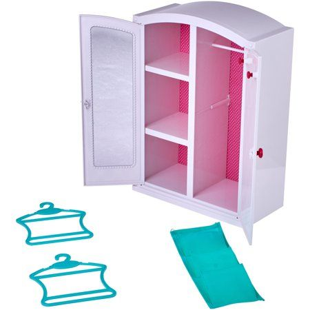 Play Toy Furniture Closet Wardrobe Cabinet Accessorries Hangers for Barbie Doll