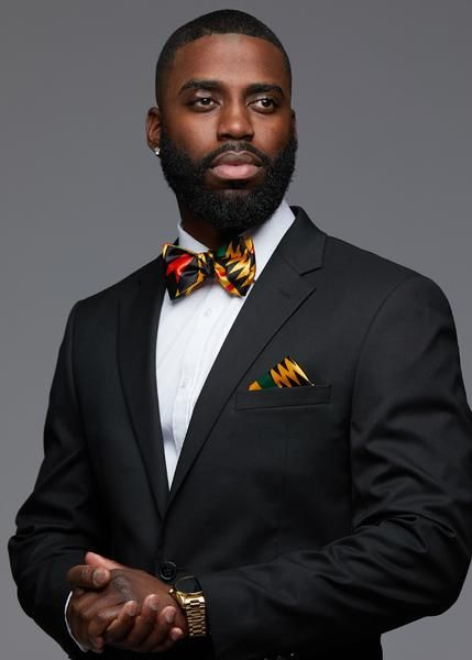 4b9f40be8d38f Halif Men's African Print Satin Bow Tie and Pocket Square Set (Black/Yellow  Kente)