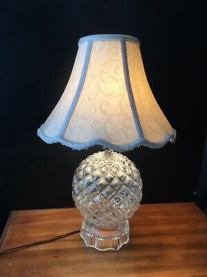 Glass Table Lamp 40s Glass Globe Pressed Glass Brocade Lampshade Ebay In 2020 Glass Table Lamp Table Lamp Glass Globe