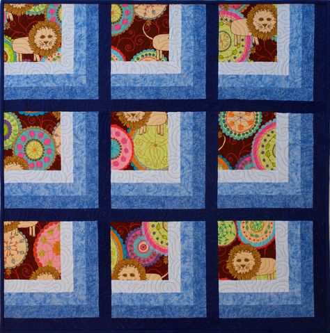 Lions in the Window, 40in sq, 2014, Sampaguita Quilts