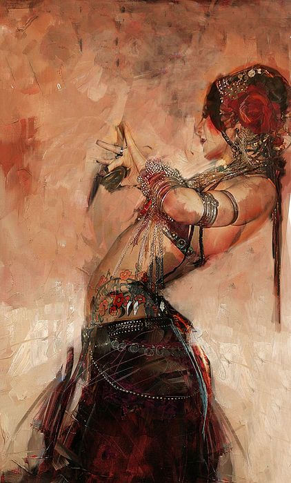Original oil painting on Egyptian culture, motifs, language and attire by artist Maryam Mughal Tribal Fusion, Arte Tribal, Tribal Belly Dance, Rachel Brice, Dance Paintings, Mädchen In Bikinis, Abstract Painters, Mata Hari, Belly Dancers