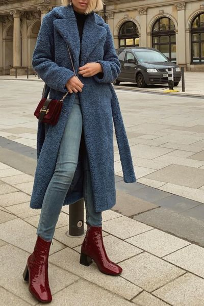 Fashion Casual Wide Lapel Polar Fleece Thicken Warm Long Coat – streetwearlooks Source by souhilaadil outfits elegant