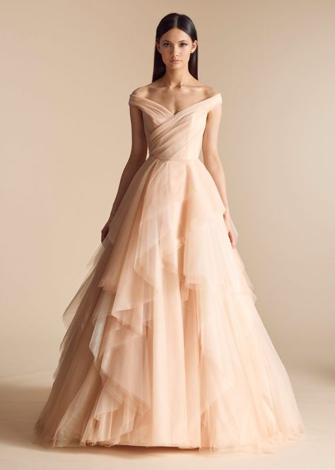d4cda5dd855 Off the shoulder tulle blush A-line wedding dress.
