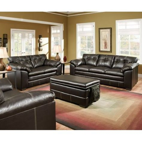 Premier Onyx Black Bonded Leather Sofa and Loveseat Set