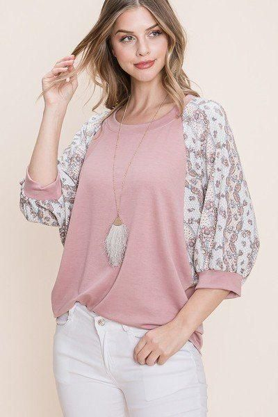 EVAVON Womens Apparel Solid French Terry Fashion Top - Mauve / L / Female